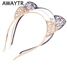 AWAYTR Metal Women Hair Hoops Cat Ears Hairband Rhinestone Princess Heart Shaped Hollow Hairband Gold Plated Hair Jewelry