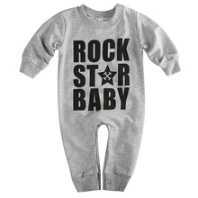 Autumn Spring 2015 New Brand Lovely Rock Star Baby Boys Girls One-piece Romper Jumpers Playsuit 6-24M Cotton Children Set