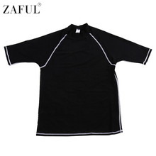 ZAFUL Lycra Rash Guard Suit For Men Uv Protection Short Sleeves Straitjacket Top Collar Rash Guard Swimsuit Surfing Swim Shirt(China)