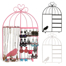Iron Wall Jewelry Earring Organizer Hanging Holder Necklace Display Stand Rack