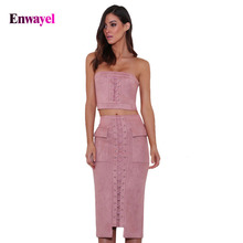ENWAYEL New 2017 Summer Fashion Women's Sets Quality Style Short Strapless Skirts Tops Shorts Skirt Set Women 2 Pieces F014