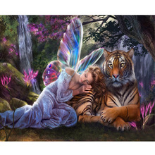 5D diy diamond painting Cross Stitch 3d round drill Diamond Embroidery mosaic pattern Angel and tiger picture gift 30x20cm