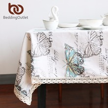 BeddingOutlet Butterfly Tablecloth Cotton Linen Dinner Table Cloth Insect Macrame Decoration Lacy Table Cover Pastoral Washable(China)