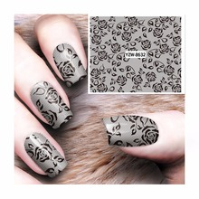 LCJ 1 Sheet Hot Sales Water Transfer Nail Sticker Lace Flower Decals DIY Art Decoration Fingernail 8632