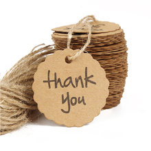 100pcs/lot Kraft Paper Thank You Tag 4cm Round Wishing Bottle Card Hang Gift Tags Crafts Wedding Decoration DIY Party Supplies