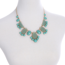 Charming Ladies Fashion Jewelry Resin Necklace Waterdrop Light Blue Hot Pink Collar Accessories