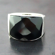 free shipping Hot sale new Style >>>>VINTAGE NATURAL FACETED BLACK  ONYX 925 STERLING SILVER RING SIZE 7/8/9