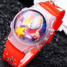 1PC Hot Sale Ottoman Boy'sChildren Waterball LED Flashing Light Watches Hero Cartoon Character Kids Digital Wristwatches Gifts(China)