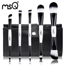 MSQ 5pcs Makeup Brushes Set Double End Foundation Blusher Eyeshadow Cosmetic Nail Brush kit Synthetic Hair Canvas Case(China)