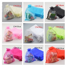100pcs/lot white red black blue color Organza Bags 13x18cm Wedding Favour Gift bag Jewellery pouches(China)