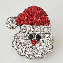 Snap Charm Holiday Ginger Interchangeable Jewelry Ginger Snap Button Rhinestone Christmas Decoration DIY charms KB4403