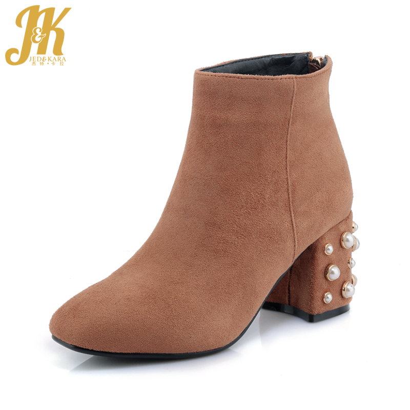 JK Brand Designer Pearl Ankle Boots Sexy High Heel Womens Winter Boots Back Zipper Shoes Woman Square Toe Female Shoes 2018<br>