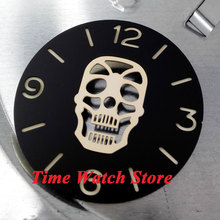 Parnis 38.9mm golden Skull face black sandwich dial golden marks watch dial fit for 6497 movement D18