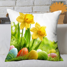"Printed Custom easter Yellow Flower rabbit egg pillow includes home decoration 18 ""x18"" Twin pages"