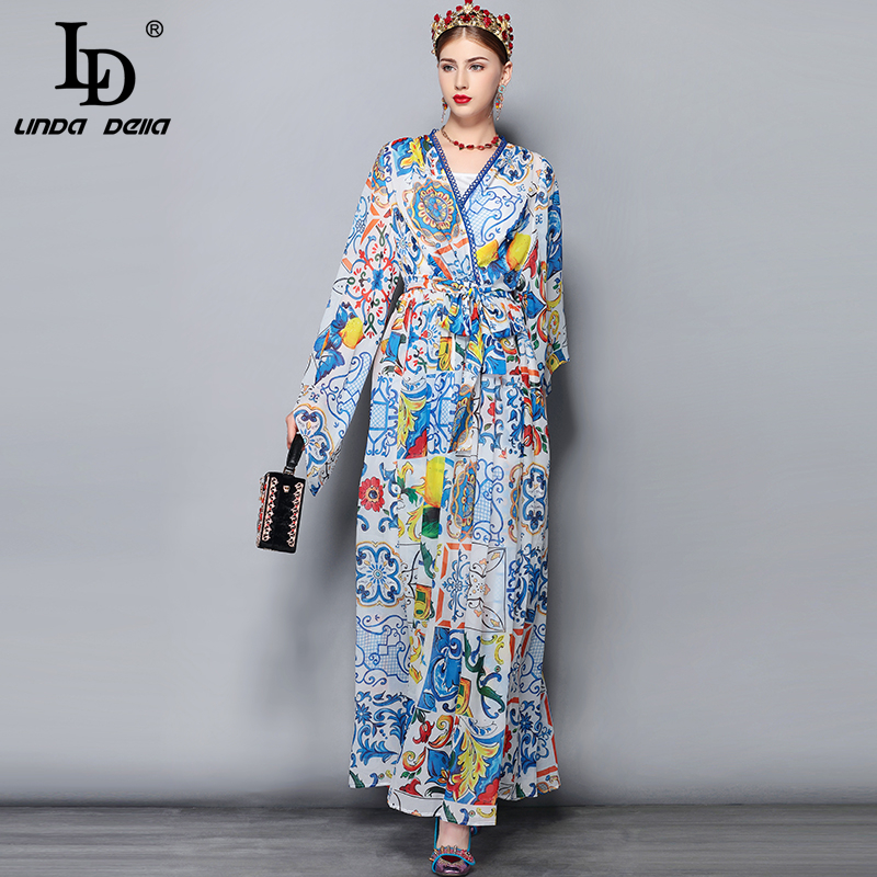 LD LINDA DELLA Fashion Runway Maxi Dress 5XL Plus size Women's Batwing Sleeve V-Neck Floral Print Casual Holiday Long Dress