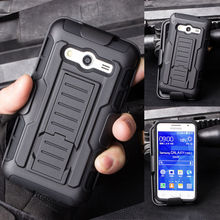 Shockproof Rugged Hybrid Hard Case Armor Cover+Belt Clip Holster Stand For Samsung Galaxy Core 2 G355H 3 in 1 Back Cover Case