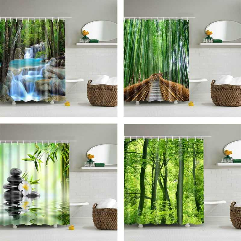 Forest Trees Printed 3d Bath Curtains Waterproof Polyester Fabric Washable Bathroom Shower Curtain Screen with Hooks Accessories