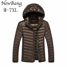 6XL 7XL Men Ultralight Duck Down Jacket Men's Feather Hoodies Coats Outwear Plus With Carry Bag Large Size Male OverCoats