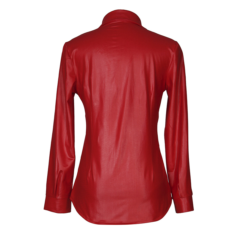 Kostlich Sexy Pu Leather Long Sleeve Blouse Women Shirts Fashion Spring Autumn Women Tops Black Red Ladies Blouses Casual Shirt (21)