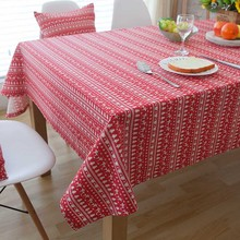 Home Textile Christmas Tree Printed Stripe Table Linens for New Year Party Holiday Ceremony Decor Cotton Tablecloth Cover Dinner(China)