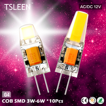 TSLEEN 10PCs G4 SMD LED SPOT LIGHT LAMP BULB 12V AC/DC TRANSPARENT SILICAGEL 3/6W