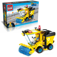 Enlighten 1101 City Construction Road Roller Tractor Sweeper Truck 102Pcs Building Blocks Kids Toys For Chidren