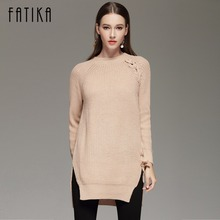 FATIKA 2017 Autumn Winter Women's Fashion Lace Up Sweater Dress Loose Casual O Neck Knitted Mini Dresses For Women(China)
