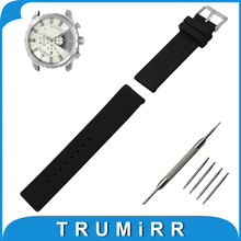 20mm 22mm 24mm Silicone Rubber Watch Band for Diesel Mesh Pattern Resin Strap Stainless Buckle Wrist Belt Bracelet + Spring Bar
