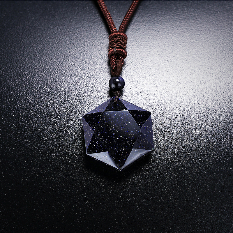 Free shipping Hexagram Blue sandstone Pendant Beautiful Tarot Pendulum Energy Line Magic Mystic Star Power Stone Diviner Item<br><br>Aliexpress