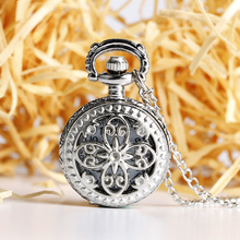 Crystal Luxury Pendant Vintage Silver Hollow Small Butterfly Flower Quartz Pocket Watch Necklace Trendy Jewelry for Women Ladies(China)