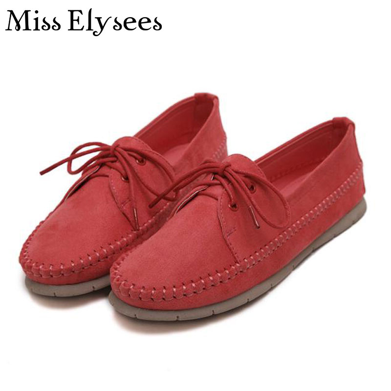 Soft Suede Leather Round Toe Ladies Shoes Flats for Winter Lace Up 2017 Spring Autumn Shoes Woman Orange Boat Shoes Moccasins<br><br>Aliexpress