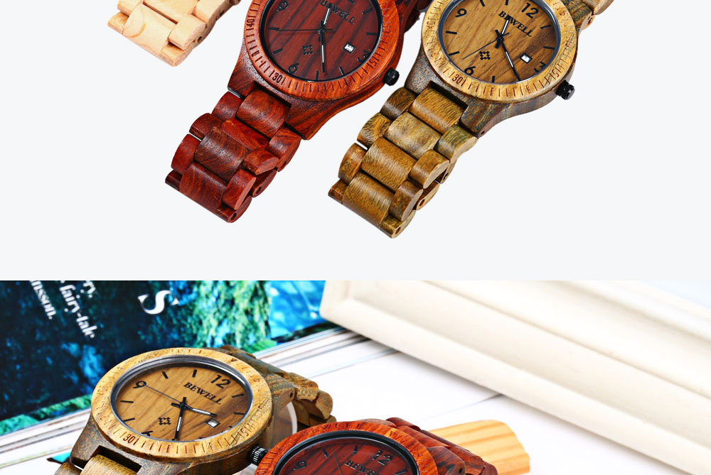 2017 BigBen Bewell Luxury Brand Wood Watch Men Analog Natural Quartz Movement Date Male Wristwatches Clock Relogio Masculino (15)