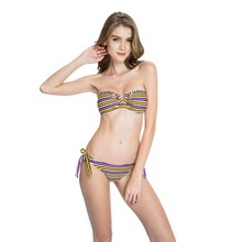 Match-Right Women Swimsuit Striped Swimwear Sexy Bikini Set Summer Bikinis Tube Bathing Suit for Women Suits CY013