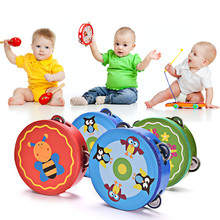 Kids Educational Cartoon Wooden Drum Rattles Toy Baby Hand Drum Toy Musical Drum Rattles Beat Instrument Handbell Best Gift 1 Pc