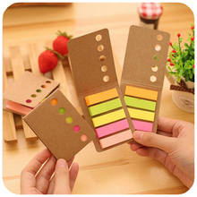 Cute Kawaii Kraft Cover Memo Pad Lovely Mini Colorful Post It Note Paper Sticky For Kids Gift School Supplies Free Shipping 280(China)