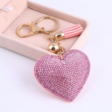 High Quality Romantic Heart Jewelry Keychain Women Key Holder Chain Ring Car llaveros bag pendant Charm(China)