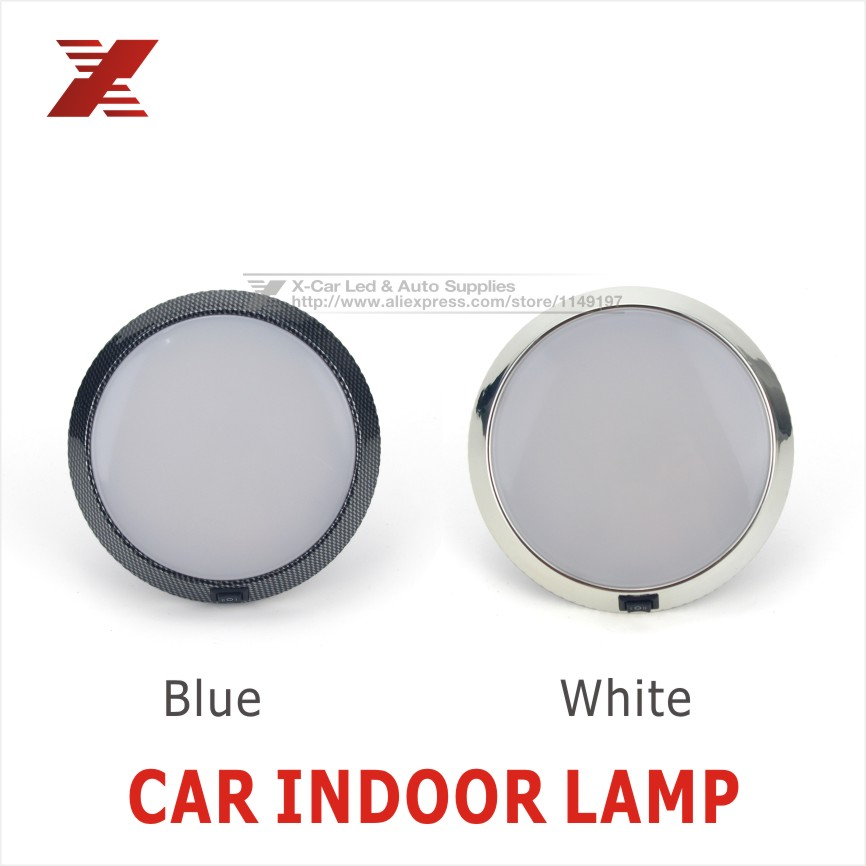 Super bright 12V Car Vehicle Dome Roof Ceiling Interior Led Rooflight indoor Light Lamp White/Blue LED Silver FreeShipping<br><br>Aliexpress