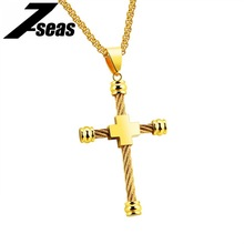 7SEAS Brand Cross Necklaces For Men Wire Cable Pendant Gold Color Box Chain Stainless Steel Classic Man Male Necklace JM1241
