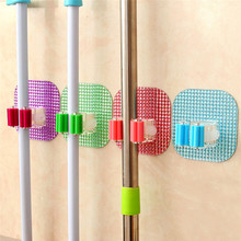 Kitchen Wall Mounted Mop Rack  Bathroom Storage Mop Broom Holder 6 Color 1Pcs