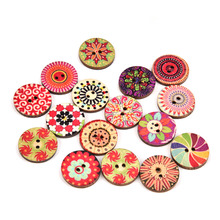 100pc/lot 2 Holes Retro Design Wooden Buttons Painted Wooden Vintage Buttons For Clothing And home Textiles Size 15/20/25mm