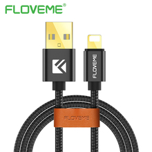 FLOVEME Gold Plated Quick Charger USB Cable For iOS iPhone 5 S E 6 7 Plus Nylon Woven Black Data Sync Cable For iPad Mini 1 2 3