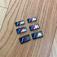 10 Cool Car Auto Decoration Badge Stickers M Logo Metal 3D Car Sticker For Steering Wheel Gear for BMW M3 M5 X1 X3 X5 X6(China)