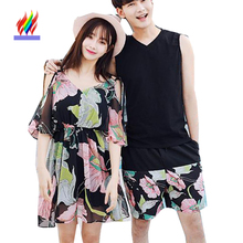 Korean Matching Couple Clothes Lovers Holiday Beach Honeymoon Casual Off Shoulder Dresses Slim Cute Floral Print Bohemian Dress(China)