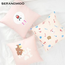 Bunny Cony Canvas Cushion Cover Rabbit Printed 100% Cotton for Birthday Gift Pink Pillows for Sofa Car Home Decor SMC1774T-FB()