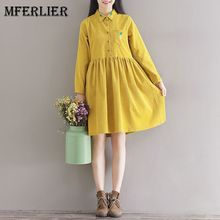 Mferlier Mori Girl Artsy Corduroy Autumn Dress Turn Down Collar Pineapple Embroidered Long Sleeve Waist Pleated A Line Dress(China)