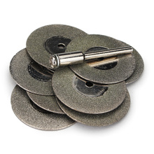 Doersupp 10pcs 30mm Diamond Grinding Wheel Slice with Two 3mm Shank Mandrels for Dremel Rotary Tool
