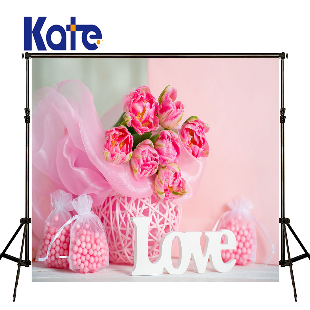 KATE ValentineS Day Backdrops Photo Background Pink Flower Backdrops Backdrop Sweet Candy White Letter Background for Studio<br>