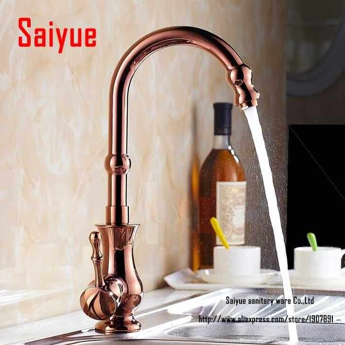 Luxury Retro Style Gold Plate Kitchen Faucet Single Handle Swivel Spout Mixer Tap robinet mitigeur cuisine<br><br>Aliexpress
