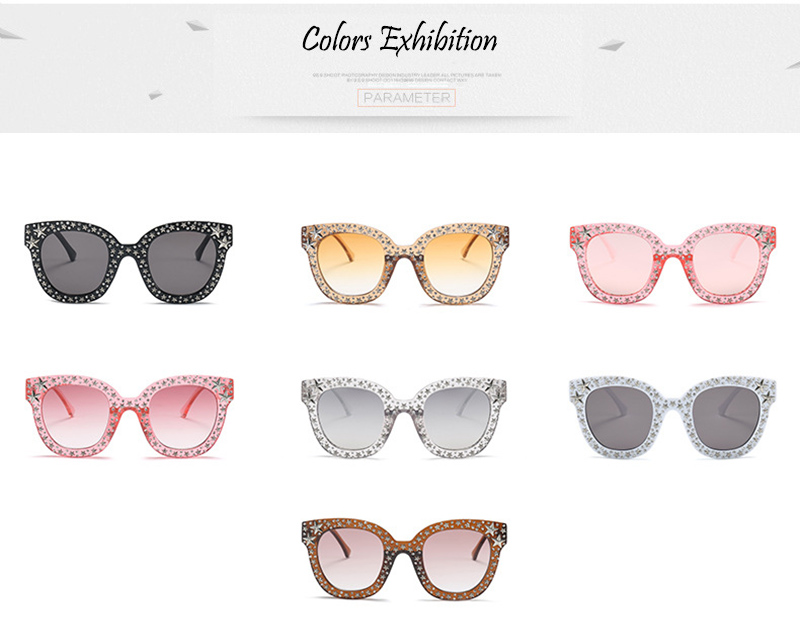 SHAUNA Luxury Crystal and Pentagram Decoration Women Cat Eye Sunglasses Fashion Ladies Pink Gradient Lens Shades UV400