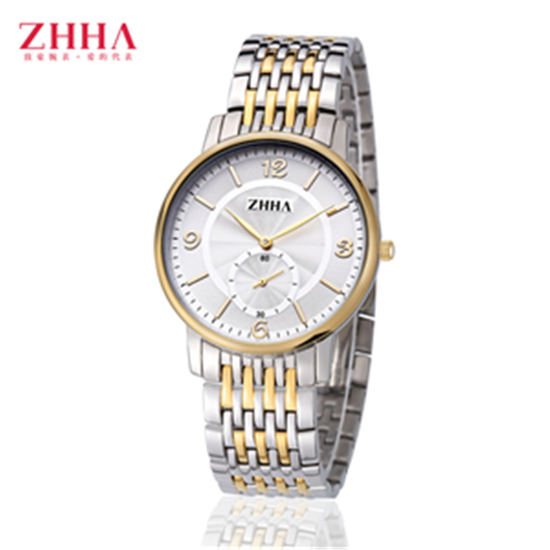 ZHHA Lovers Women Man Gold Wristwatch Stainless Steel strap Analog Quartz Fashion Casual Watch ZW010 Masculino Feminino Relogio<br><br>Aliexpress